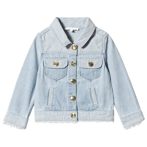 Chloé Blue Denim Jacket with Raw Edge Detail and Branded Buttons