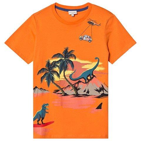 Paul Smith Junior Orange Jurassic Island Print T-Shirt