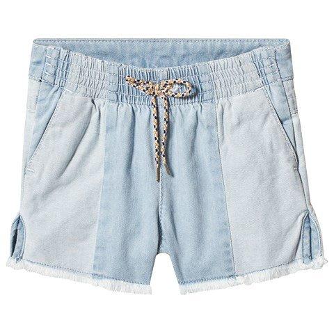 Chloé Blue Light Denim Shorts with Raw Hem