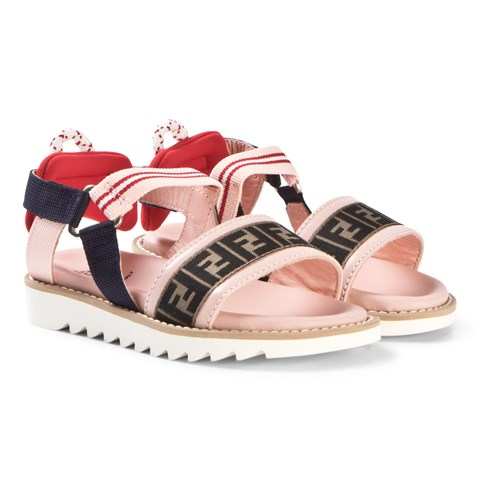 Fendi Black and Pink FF Fendi Mania Logo Velcro Sandals
