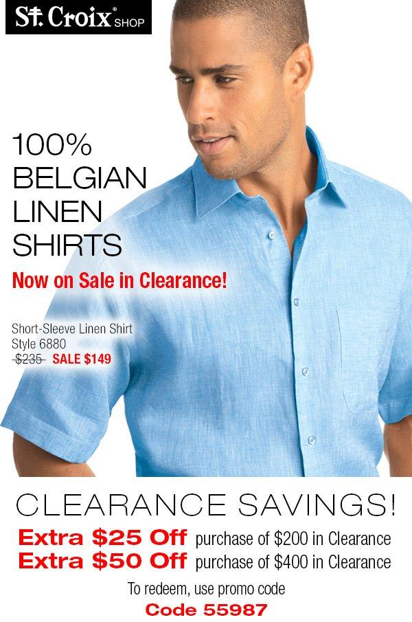 Belgian Linen Short Sleeve Sport Shirt - Style 6880