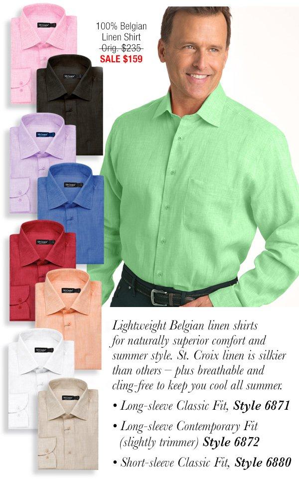 Belgian Linen Long Sleeve Sport Shirt - Style 6871