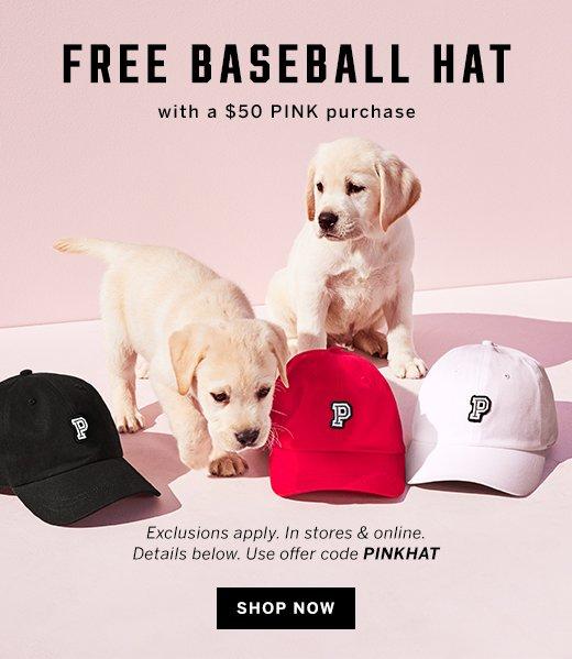 Free baseball hat + shop now
