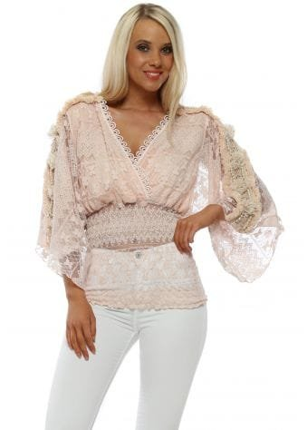 Pink Lace Pearl Wrap Blouse