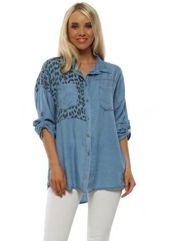 Blue Soft Denim Leopard Print Shirt