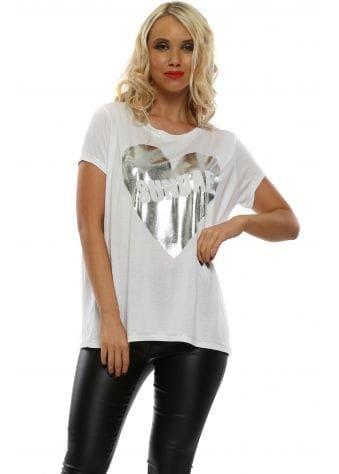 Valentino White Logo Silver Foil Heart T-Shirt