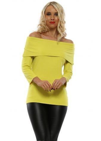 Bianca Golden Lime Off The Shoulder Jersey Top