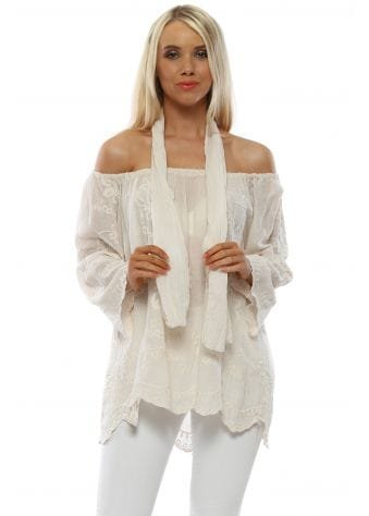 Beige Cotton Embroidered Bardot Top With Scarf