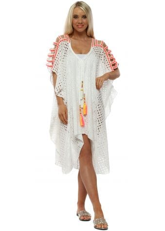 White Broderie Anglaise Pink Stitch Ladder Sleeve Kaftan
