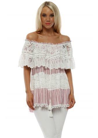 Red Stripe & White Lace Pom Pom Bardot Top