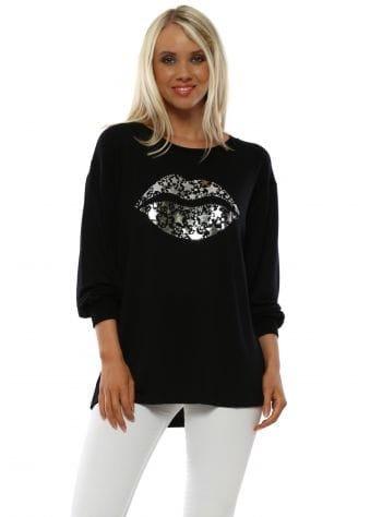 Sofia Foil Kiss Black Lurex Trim Raglan Sweater