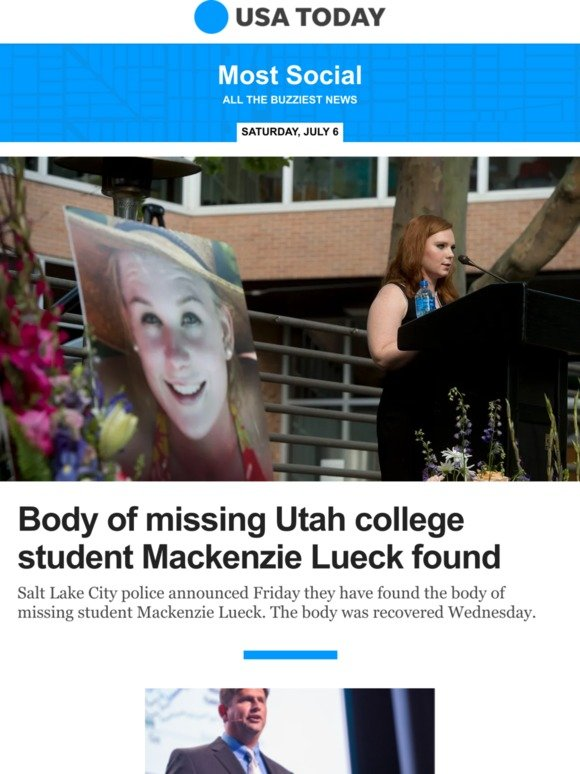 USA TODAY: Most Social: Body of missing University of Utah college