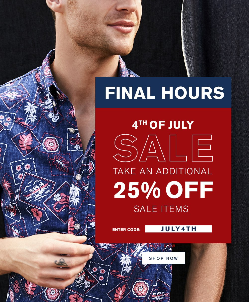 Final Hours 4th Of July Sale - 25% Off