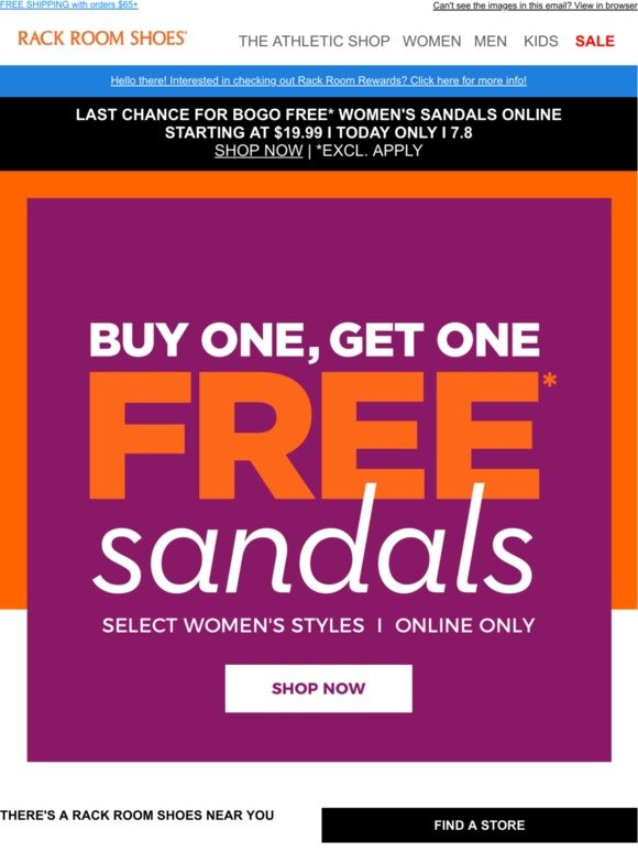 Rack Room Shoes: FREE sandals for women
