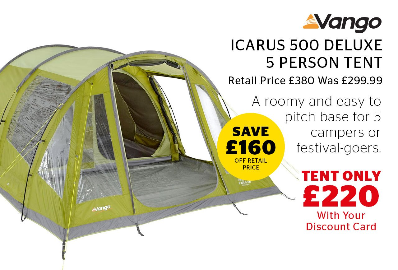 Vango Icarus 500 Deluxe 5 Person Tent Now Only £220