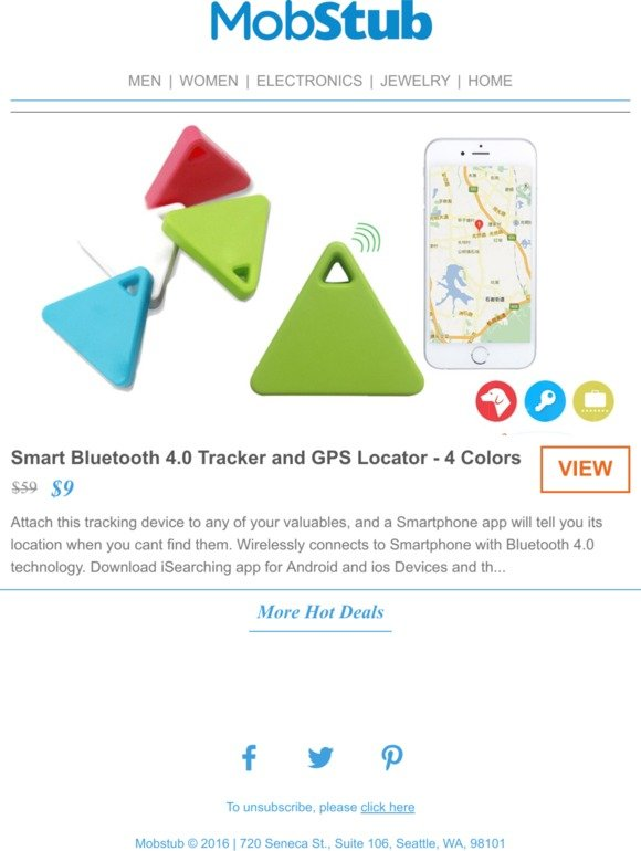 Mobstub Smart Bluetooth 4 0 Tracker And Gps Locator 85 Off Milled