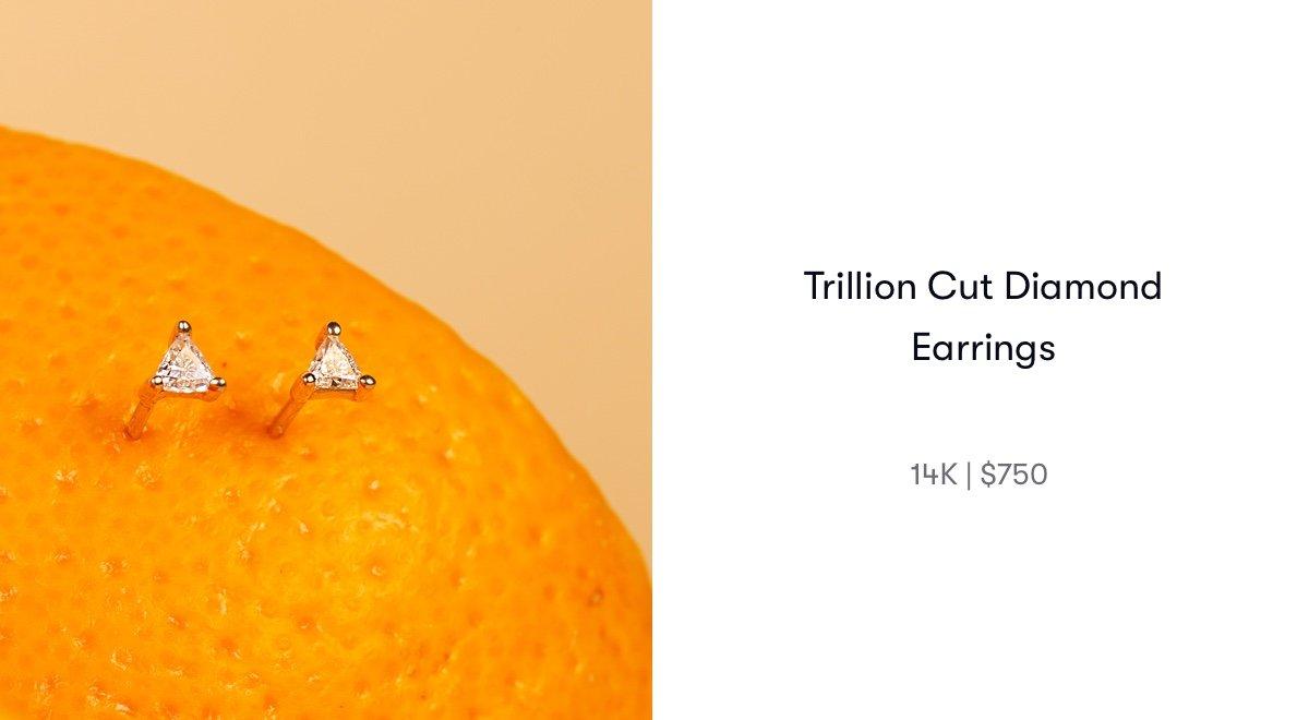 trillion cut diamond earrings