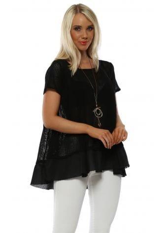 Black Cotton Open Weave Necklace Top