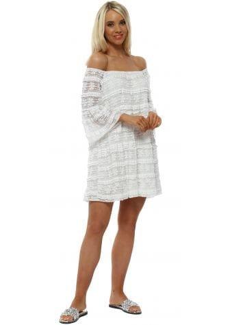 White Lace Layered Bardot Mini Beach Dress