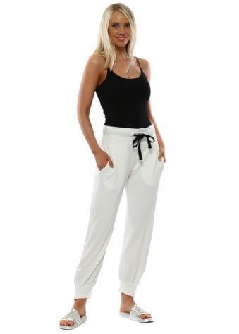 Cream Cleo Zip Side Sweat Pants