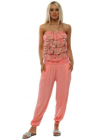 Coral Embroidered Silk Ruffle Jumpsuit
