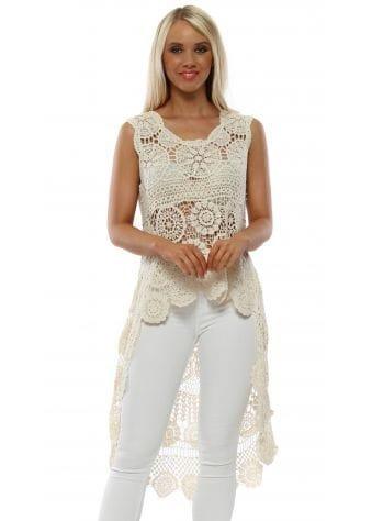 Cream Cotton Crochet Dip Hem Top