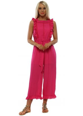 Fuchsia Pink Frill Trim Low Back Jumpsuit
