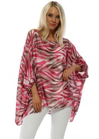 Pink Zebra Print Kaftan Top