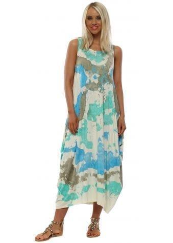 Mint Green Splatter Print Sleeveless Dress