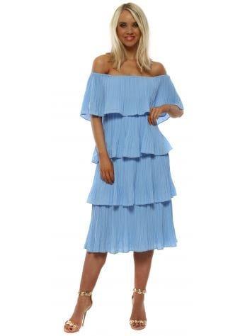 Sky Blue Pleated Layered Bardot Dress
