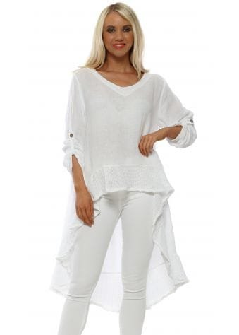 White Linen Hi Lo Turn Up Sleeve Top