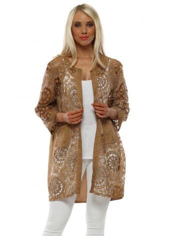 Tan Linen Floral Crochet Jacket