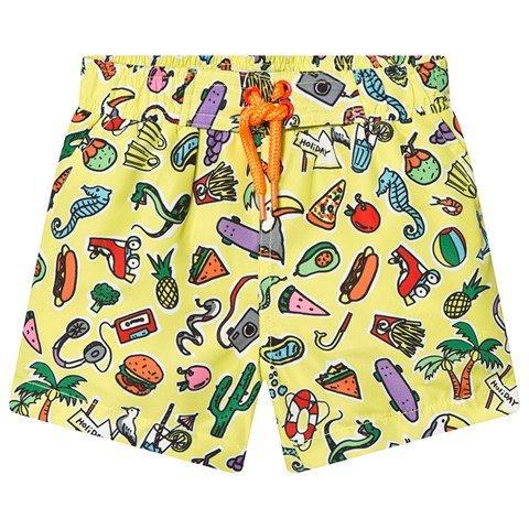 Stella McCartney Kids Yellow Food & Toys All Over Print Swim Shorts