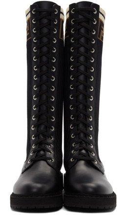 Fendi - Black Tall Rockoko Combat Boots