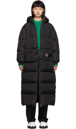 Prada - Black Belt Bag Down Long Coat