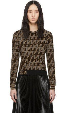 Fendi - Brown Knit 'Forever Fendi' Sweater