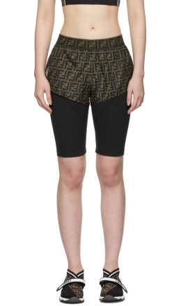 Fendi - Black & Brown 'Forever Fendi' Biker Shorts