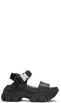 Prada - Black Teva Platform Sandals