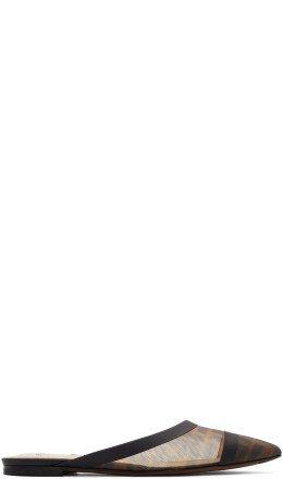 Fendi - Black Mesh 'Forever Fendi' Colibri Slippers