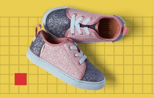 Multi Blocked Glitter Tiny TOMS Lenny Elastic Sneakers