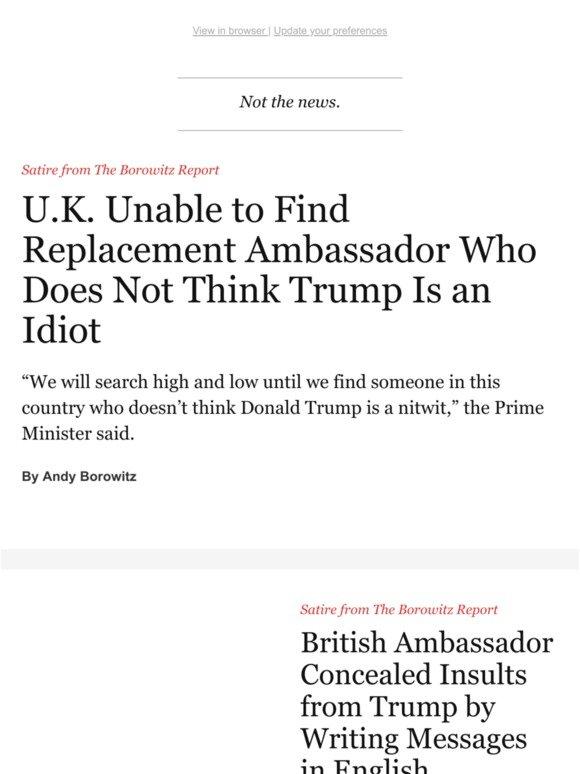 TheNewYorker com: New U K  Ambassador Crisis | Milled