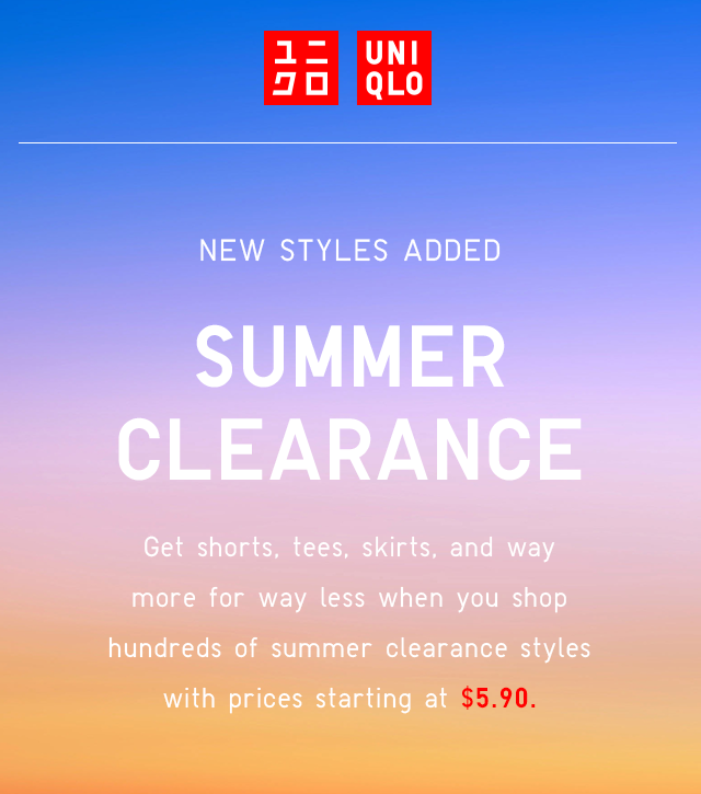 HERO HEADER - COME SHOP SUMMER CLEARANCE
