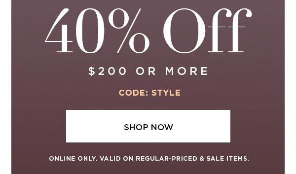 40% Off Shop Now
