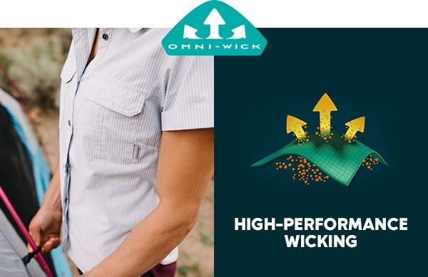 A light gray button-down shirt. The Omni-Wick logo. A graphic showing Omni-Wick functionality. High-performance wicking.