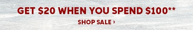 Get a 20 dollar promo card when you spend 100 dollars. Shop Sale.