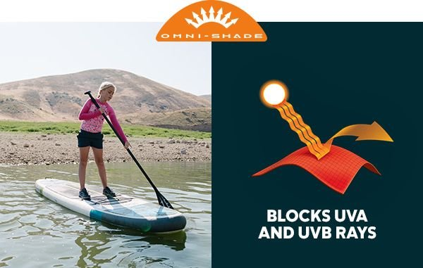 A girl on a stand up paddleboard in a river. The Omni-Shade logo. A graphic showing Omni-Shade functionality. Blocks UVA and UVB rays.
