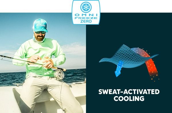 A man in a long-sleeve shirt and hat adjusting a fishing reel. The Omni-Wick Zero logo. A graphic showing Omni-Wick Zero functionality. Sweat-activated cooling.