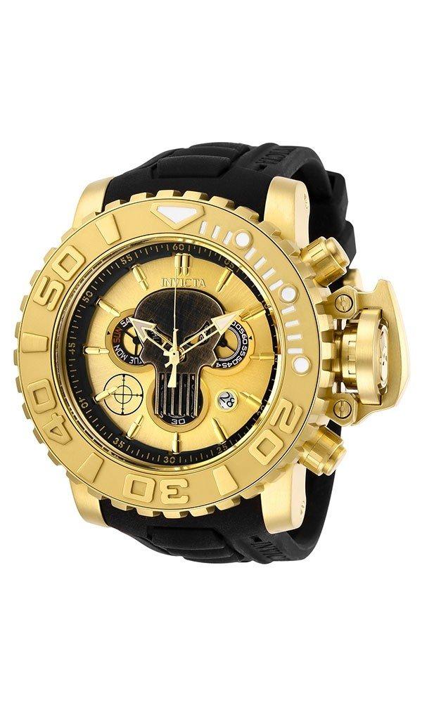 Invicta Marvel Limited Edition Punisher Mens Quartz 58mm Gold Case Gold Dial
