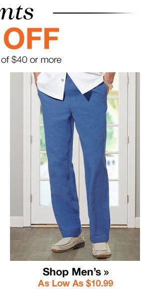 Shop Men's Pants As Low As $10.99