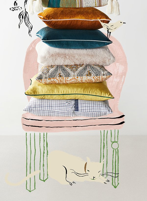 Stacked colorful pillows.